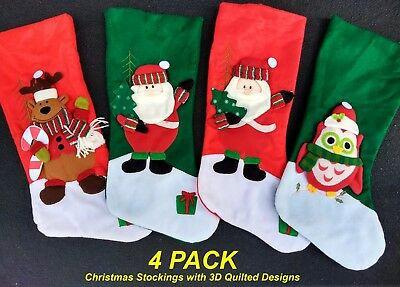 4 Pack x Deluxe Quality Christmas Stockings with 3D Puffed Designs
