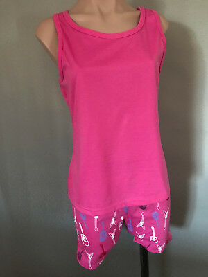 BNWT Girls Sz 12 Pink Guitars Short Summer Racer Back Style Stretch PJ Pyjamas