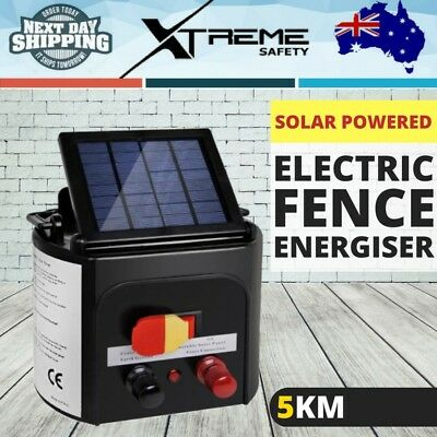 5KM Solar Power Electric Fence Energiser Energizer Charger 0.15J Pet Animal Farm
