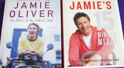JAMIE OLIVERS 15 MINUTE MEALS + THE RETURN OF THE NAKED CHEF  x  2  cookbooks