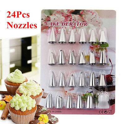 24Pcs/set Stainless Steel Nozzle Icing Piping Pastry Russian Tulip Tips Bag