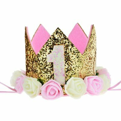 Aiernuo Baby First Birthday Crown Gold Flower Tiara Headband Birthday Party Hat