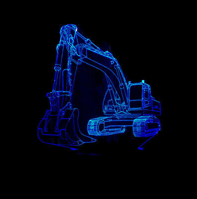 3D Illusion Night Light 3D Excavator Table Desk Lamp Gift 7 Changeable Color LED