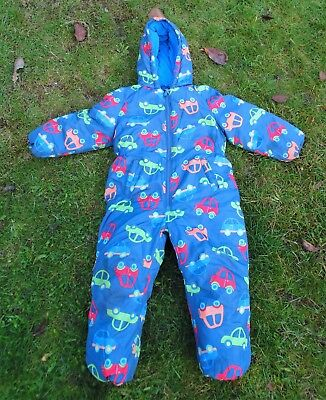 NEXT Boys Winter Padded Hooded Blue Car Print Snowsuit All In One Age 5-6 Years