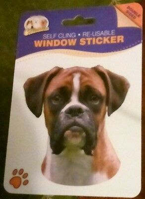 Red Boxer Dog Double Sided Window Sticker