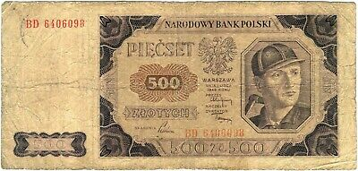 Poland banknote - 500 piescet zlotych - year 1948 - coal miner - free shipping
