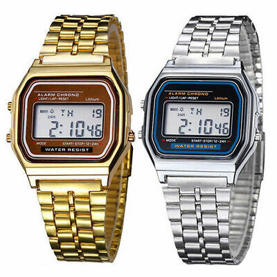 Retro Armbanduhr Herrenuhr LCD Digitaluhr Quarz Sport Watch Wasserdicht Trend