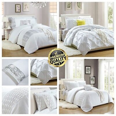 Duvet Cover with Pillowcases Quilt Cover Bedding Set Double King Size White