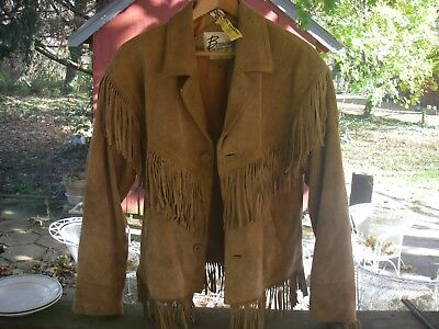 Vintage Suede Leather Fringed Jacket Cowboy BoHo Hippie Size 36 Made by Berman's