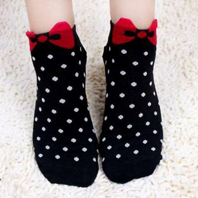 Young Women 3D Bow Polka Dot Pattern Candy Color Cotton Blend Ankle Short Socks