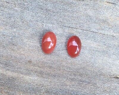 2 PC OVAL CUT SHAPE NATURAL CARNELIAN 6x4MM CABOCHON LOOSE GEMSTONES