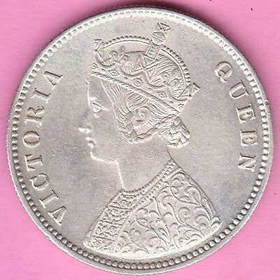 British India-1862-One Rupee-Victoria Queen-Rarest Beautiful Silver Coin-9