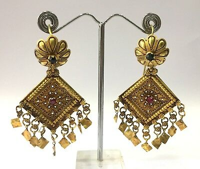 Vintage antique Handmade 20K Gold Jewelry Earring Pair India