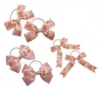 Little girls ballet ribbon hair bows on thin bobbles, toddler hair accessories