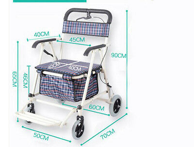 New White Four Wheels Convenient Foldable Shopping Luggage Trolleys With Seat #!