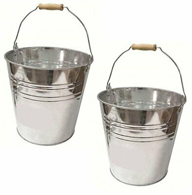 Traditional Strong Galvanised Steel Bucket Pail 12L Capacity - Value Pack of 5