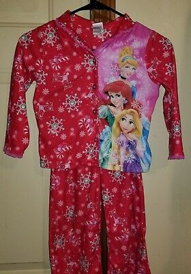 Disney Princess Flannel Holiday Pajama Set Size 6 (Small) Red Ariel Cinderella