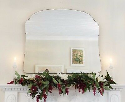 Art Deco Mirror, Frameless Feature Wall Shaped Overmantle Antique Mirror M256