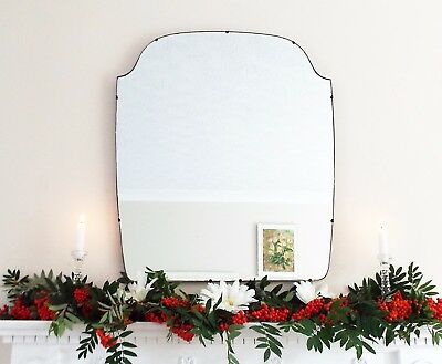 Art Deco Mirror, Frameless Feature Wall Shaped Overmantle Antique Mirror M238