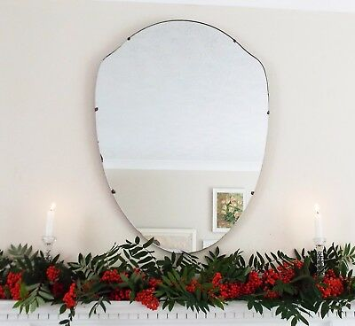 Art Deco Mirror, Frameless Feature Wall Shield Overmantle Antique Mirror M235