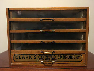 Antique Clark's O.n.t. Embroidery Glass Front Oak Spool Country Store Display