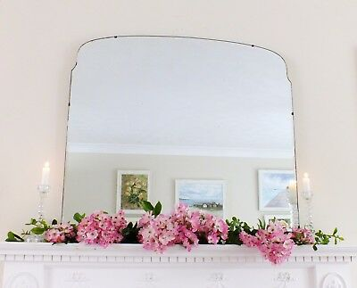 Art Deco Mirror, Frameless Feature Wall Shaped Overmantle Antique Mirror M176