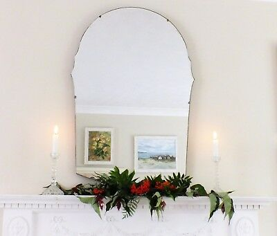 Art Deco Mirror, Frameless Feature Wall Shaped Overmantle Antique Mirror M141