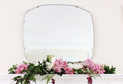 Art Deco Mirror, Frameless Feature Wall Shaped Overmantle Antique Mirror M178