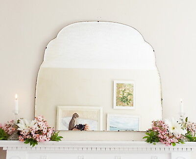 Art Deco Mirror, Frameless Feature Wall Shaped Overmantle Antique Mirror M244