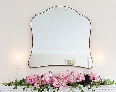 Art Deco Mirror, Frameless Feature Wall Shaped Overmantle Antique Mirror M227