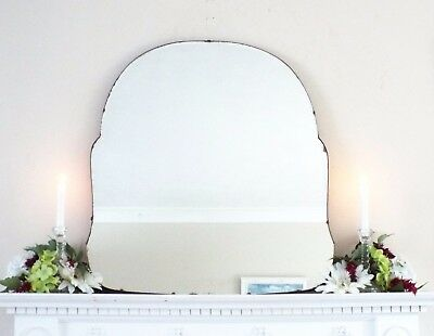 Art Deco Mirror, Frameless Feature Wall Shaped Overmantle Antique Mirror M329