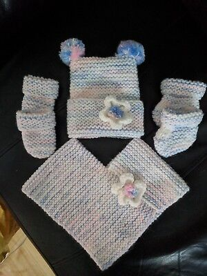 new born poncho-hat-bootees-mits set, brand new, handmade