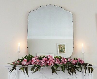 Art Deco Mirror, Frameless Feature Wall Shaped Overmantle Antique Mirror M223