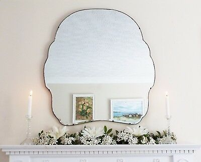 Art Deco Mirror, Frameless Feature Wall Shaped Overmantle Antique Mirror M192