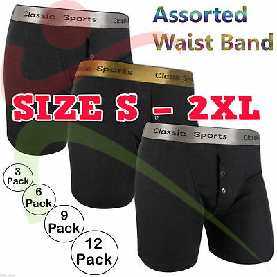 New 6 12 PACKS Mens Classic Sports Gold Silver Rib Boxer Shorts Underwear Trunks