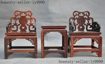 """5""""old Chinese Redwood wood master carving Tea table chair Furniture model statue"""