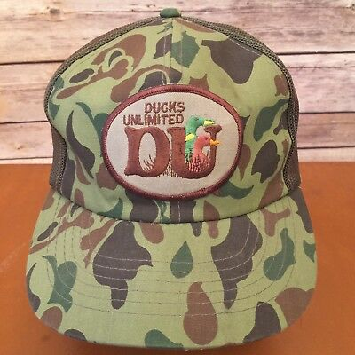 Vtg Ducks Unlimited Trucker Hat Mesh Snap Back Cap Camo DU Adjustable Sportsman