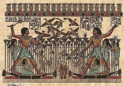 """Ancient Egyptian Hand Painted Drawing of the """"Pharaoh Hunting"""" Reproduction"""