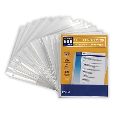 Samsill Heavyweight Clear Recycled Sheet Protectors Box of 500 40 Percent Pos...