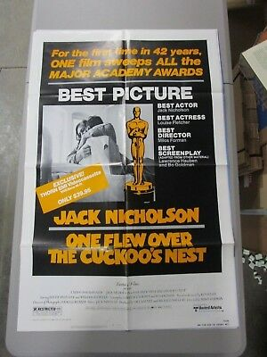 Vintage 1 sheet Movie Poster One Flew Over The Cuckoo's Nest 1974 Jack Nicholson