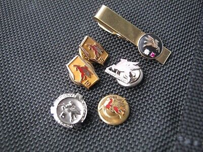 Vintage Pegasus Horse Mobil Oil Co. Service Pins, 2 Are 10Kt Gold, Rare Must See