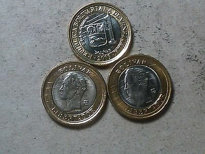 Venezuela lot of 3 x 1 bolivar 2007 2009 2012 bi-metallic coins