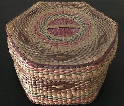 Vintage NATIVE AMERICAN Natural Dyed Colored Lidded Sweet Grass Basket w/Designs