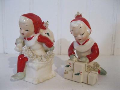Lot of 2 Vintage NAPCO Spagetti Trim Elf Carrying Sack & Wrap Christmas Gifts