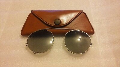 Vintage Clip On Sunglasses Aviator Style Green Lens With Plastic Case