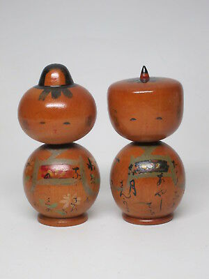Pair 2 Vintage Kokeshi Wood Doll Traditional style Painted Old Man Woman Signed