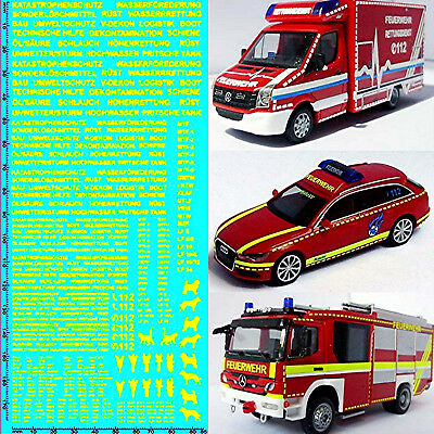 RESCUE SERVICES FIRE BRIGADE DE 07 Emergency Services Yellow 1:87 Decal