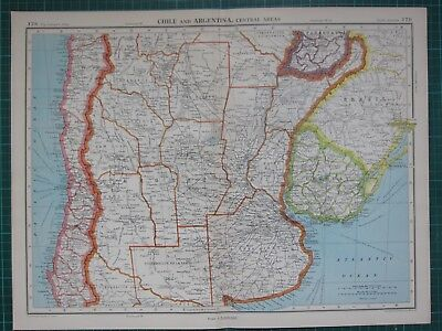 1952 Large Map ~ South America Chile & Argentina Uruguay Buenos Aires