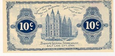 BISHOP STOREHOUSE 10 c  BLUE NOTE RARE MORMON UTAH LDS 1898
