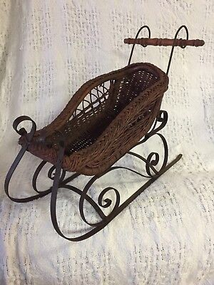 """Antique Wicker Doll Sled, 18"""" long x 9"""" wide x 15.25"""" tall"""